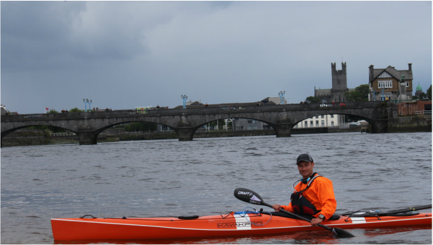 David Horkan after kayaking the Shannon River in record time.